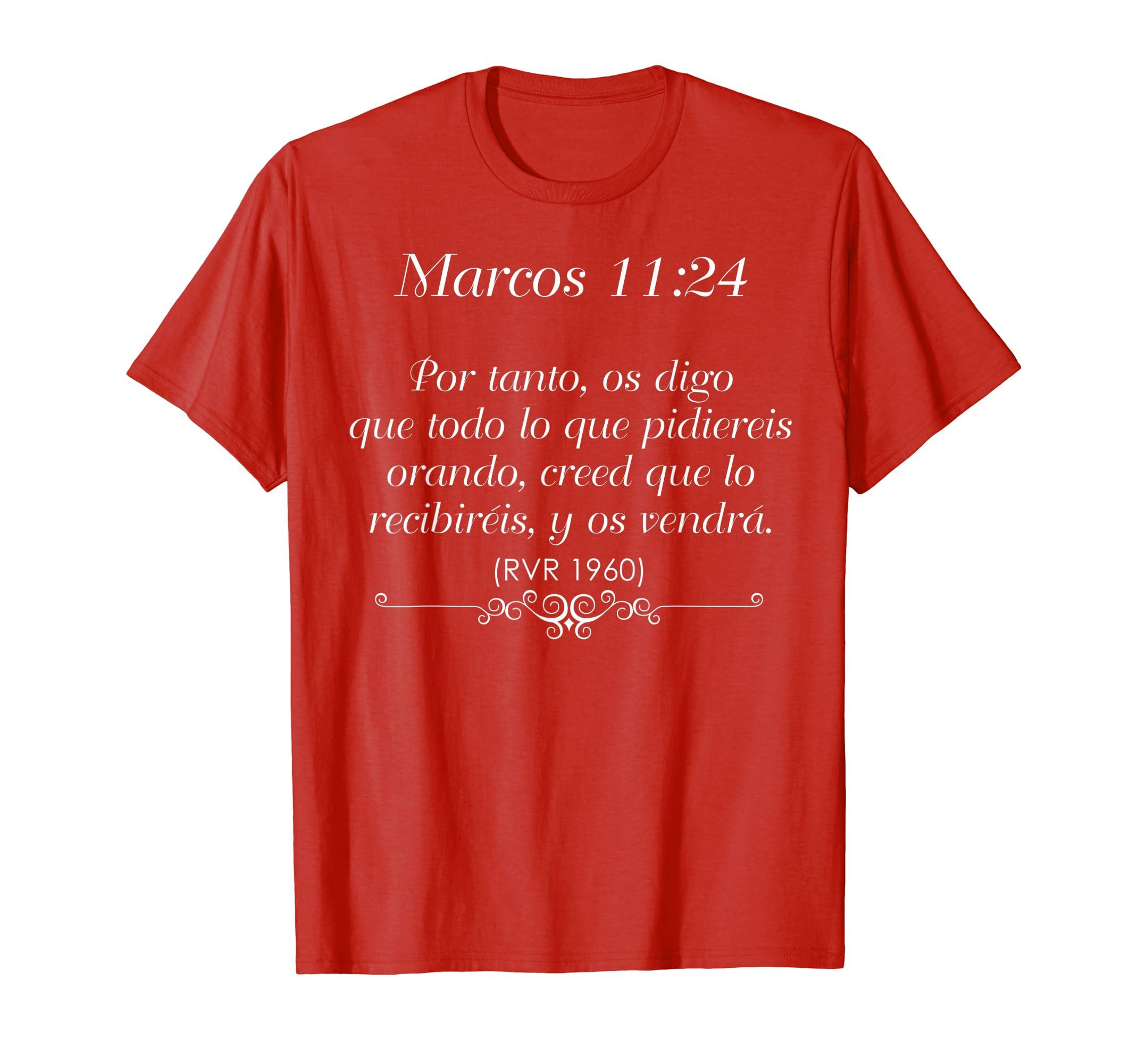 más fotos d2914 a78ec Amazon.com: Camisas Para Jovenes Cristianos | Marcos 11:24 ...