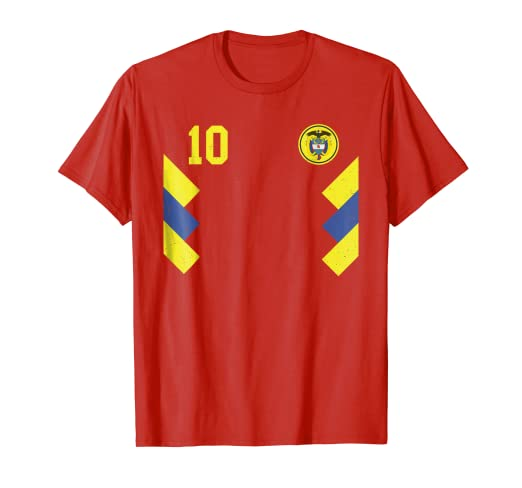 cd9593103e1 Image Unavailable. Image not available for. Color  Retro Colombia Soccer  Jersey Futbol T-Shirt Red 1990 2018
