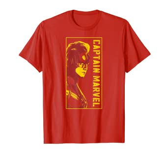 61790120acda Image Unavailable. Image not available for. Color: Marvel Captain Marvel  Carol Danvers Mohawk Profile T-Shirt