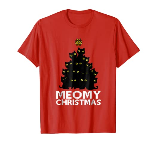 f12983170 Image Unavailable. Image not available for. Color: Meowy Christmas Cute Cat  Lover T-shirts