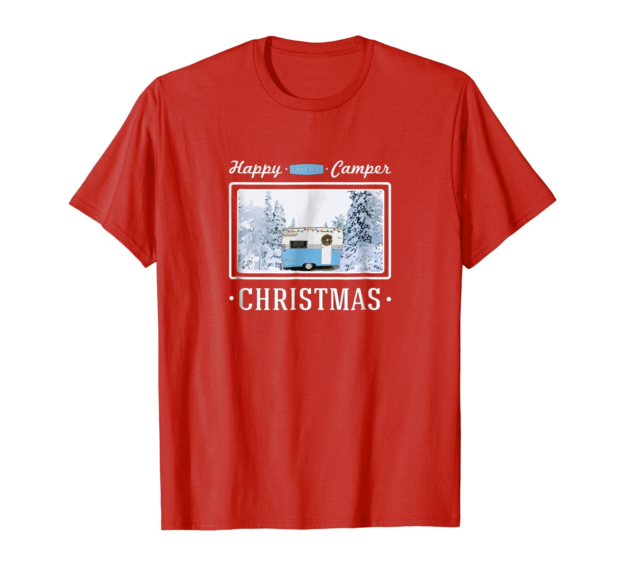 dfc6b753 Amazon.com: Happy Camper Christmas Vintage Shasta Trailer Graphic ...