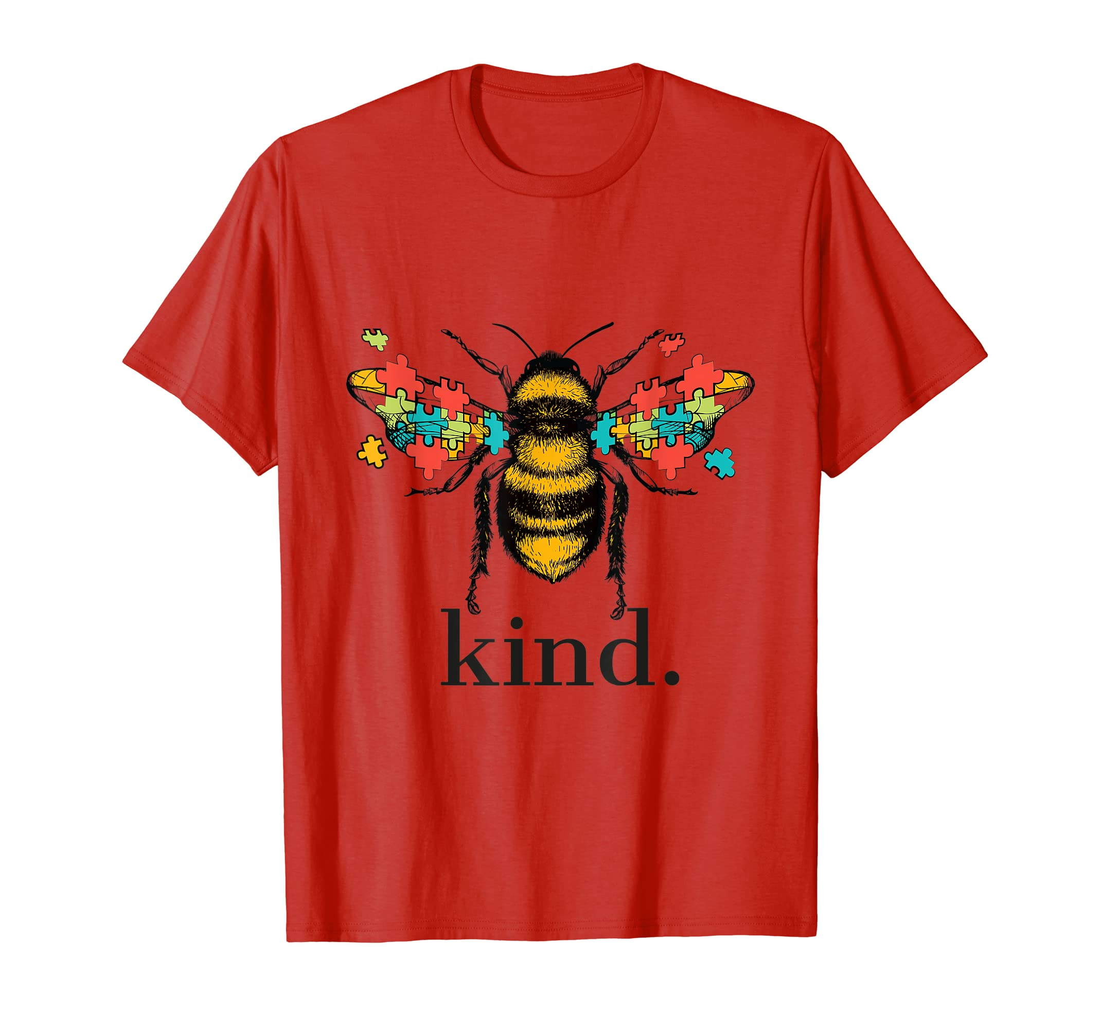1ab8c98b Amazon.com: Autism Awareness Bee Kind Puzzle Pieces T Shirt: Clothing