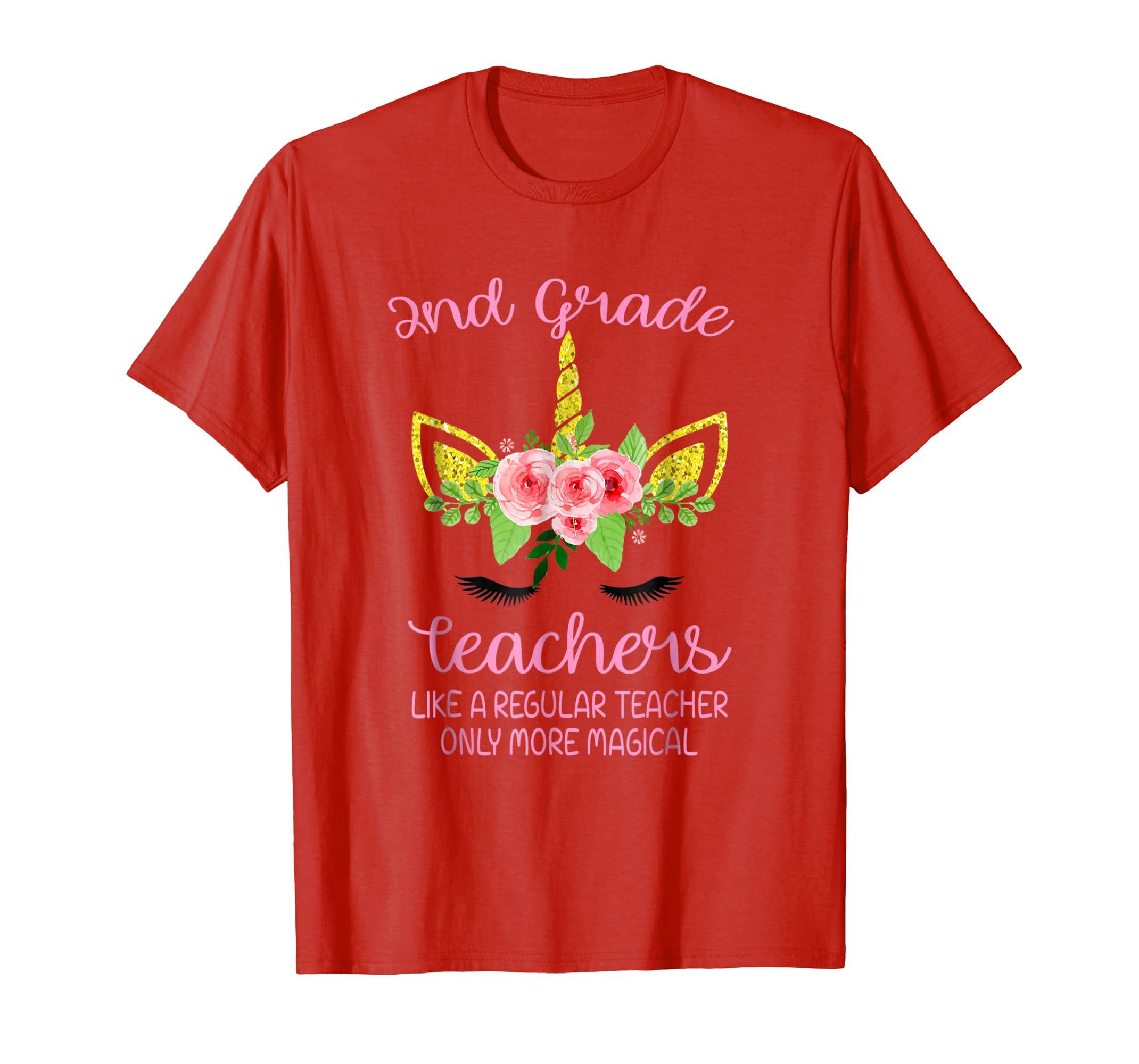 Unicorn Face 2nd Grade Teacher Only More Magical Gift Tshirt-Teesml
