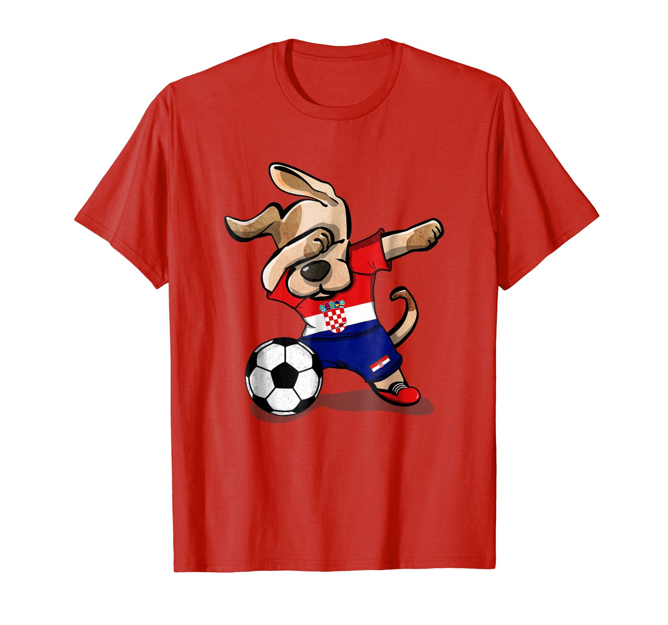 2a4278ff580 Amazon.com: Dog Dabbing Soccer Croatia Jersey Shirt Croatian Football:  Clothing