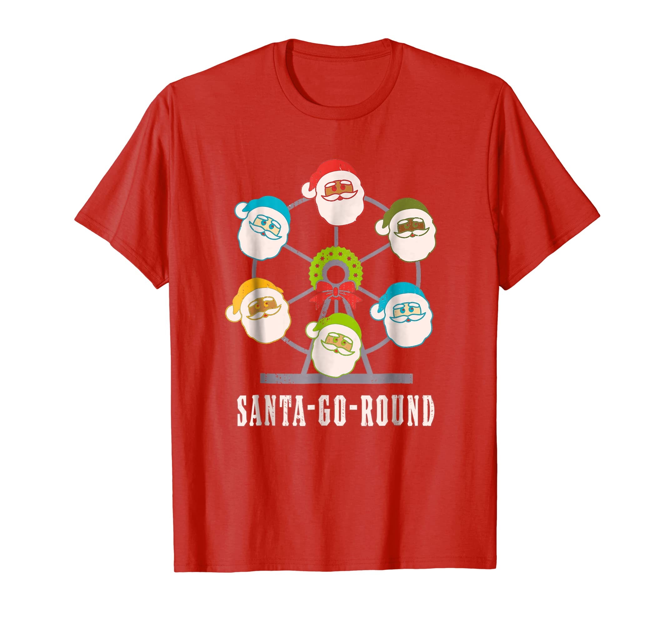 Christmas Merry Go Round Santa Claus Vintage Faded T Shirt-azvn