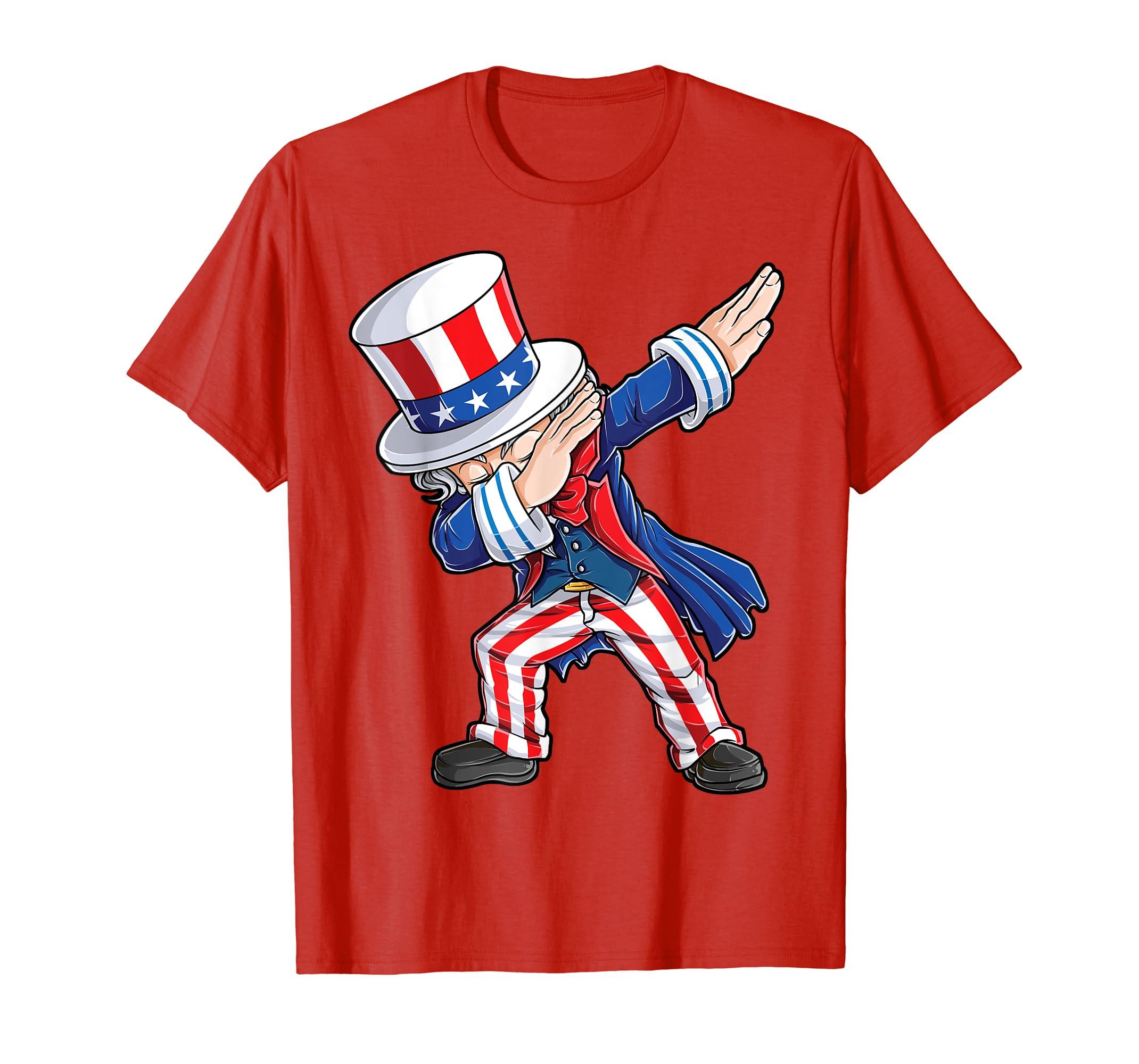 5d709adaaa743 Amazon.com  Dabbing Uncle Sam T Shirt 4th of July Kids Boys Men Gifts   Clothing