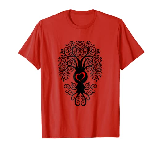 Amazon.com: Bodhi Tree with Heart Outline Yoga Tshirt: Clothing