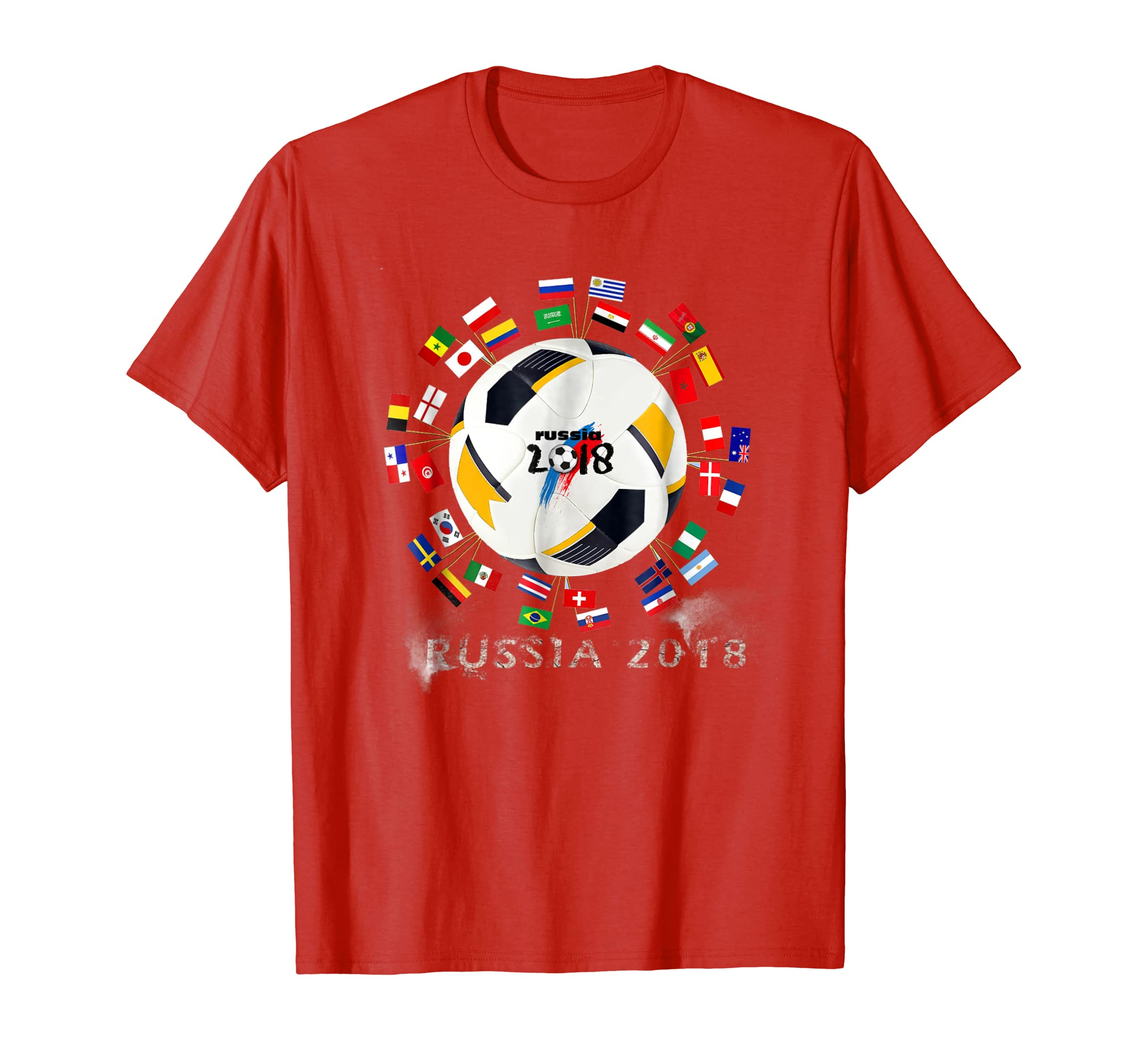 bc5fc167b6c Amazon.com  Russia 2018 Football T-Shirt All 32 Teams Shirt  Clothing