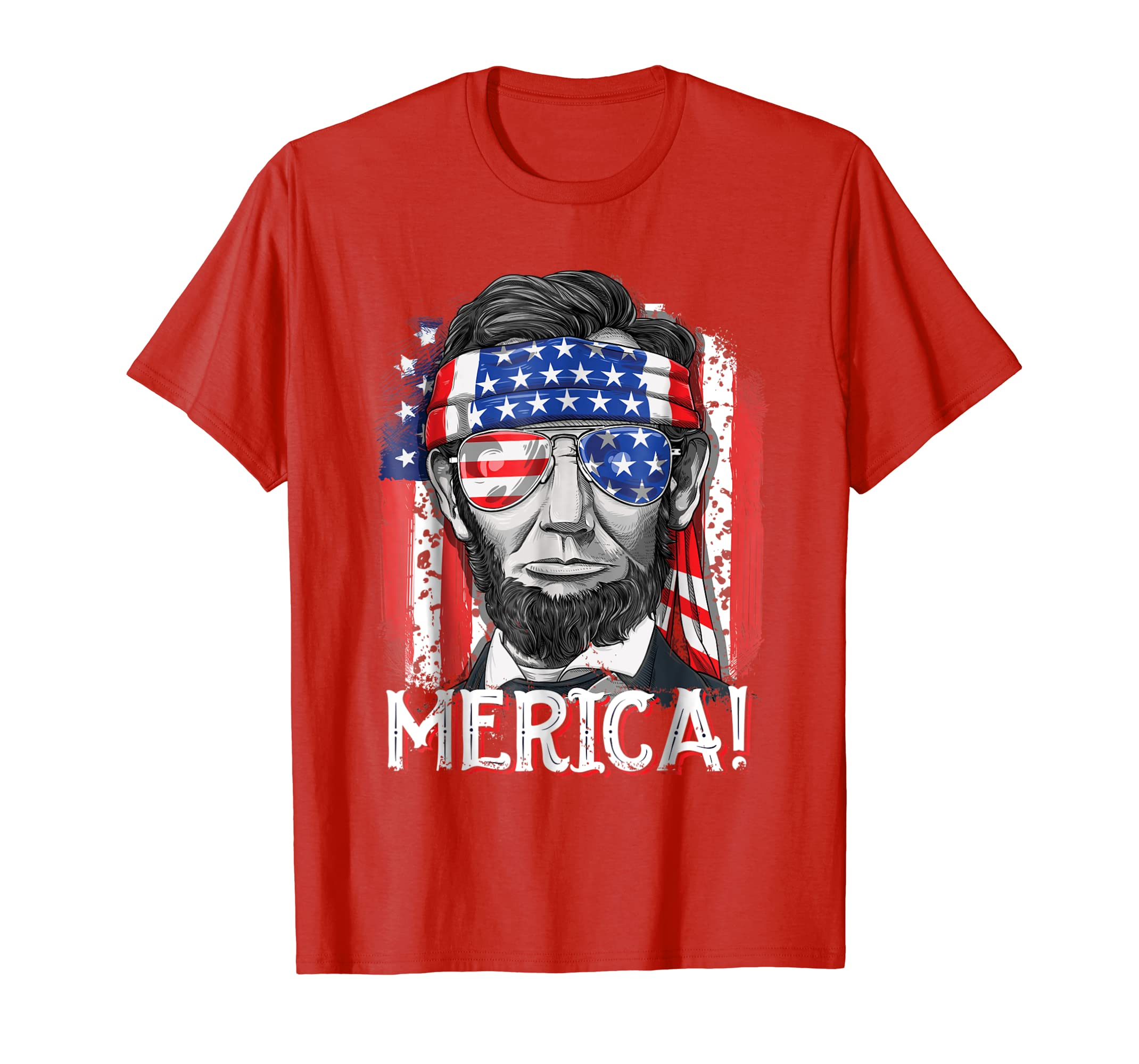 1d77fdffa Merica Abe Lincoln T shirt 4th of July American Flag Murica-alottee gift