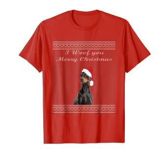 Amazoncom Doberman Pinscher Ugly Sweater Christmas Party Shirt