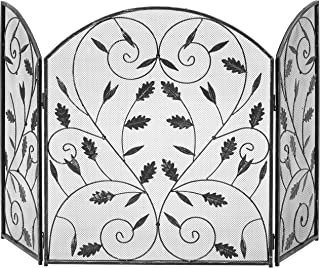 Best Choice Products 3-Panel Steel Metal Mesh Fireplace Screen w/Rustic Worn Finish, Scroll Leaf Decals - Black
