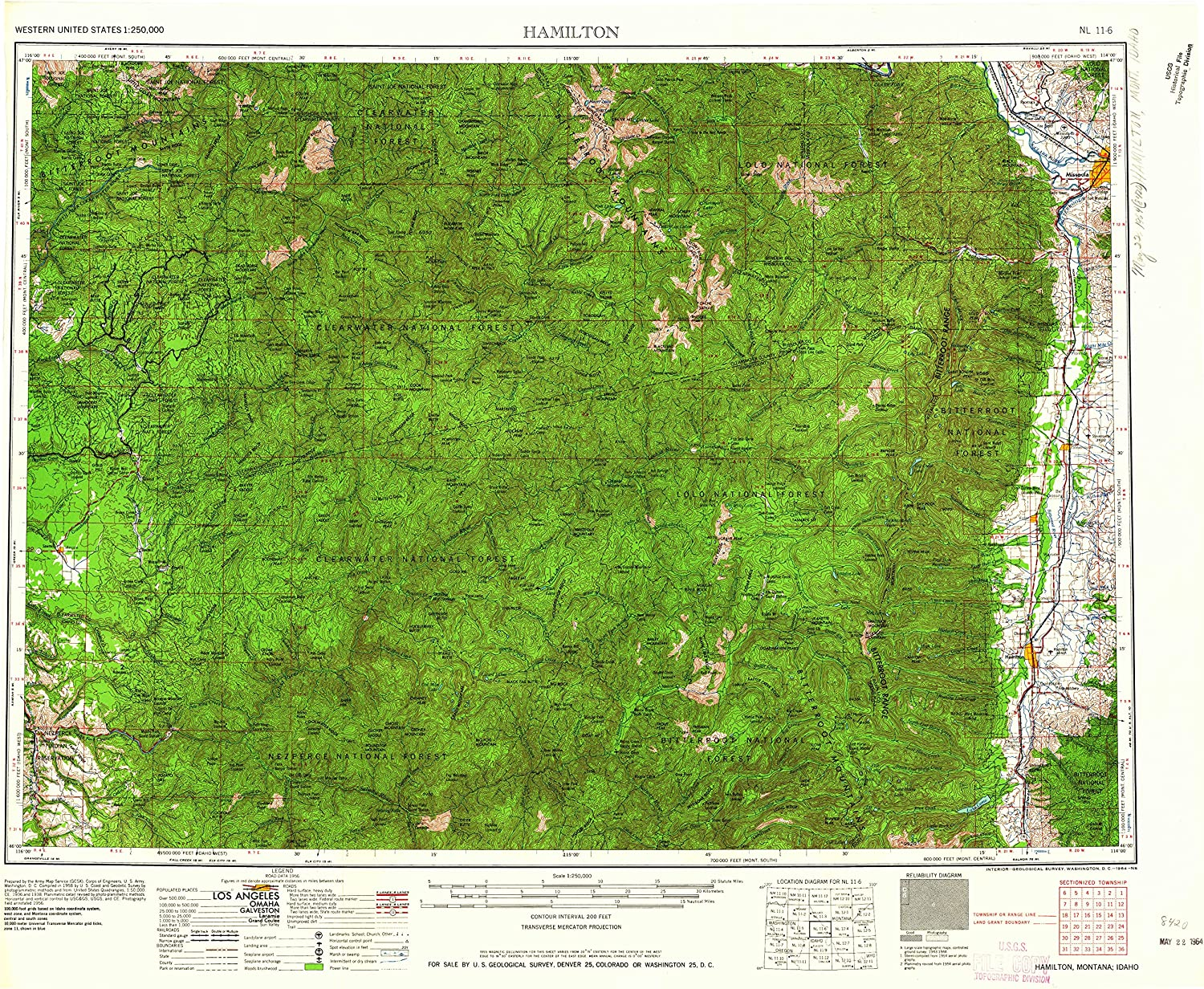 Hamilton MT topo map, 1 250000 Scale, 1 X 2 Degree, Historical, 1964, Updated 1964, 22.1 x 27.5 in