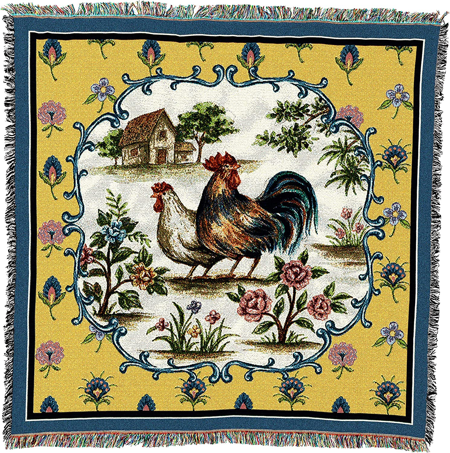 Pure Country Weavers   Country Roosters Woven Throw Blanket Cotton with Fringe Cotton USA 54x54