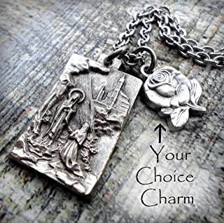 Our Lady of Lourdes Charm Necklace, St. Bernadette, Virgin Mary, Keychain or Purse-Backpack Clip