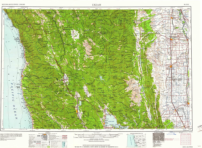 Ukiah CA topo map, 1 250000 Scale, 1 X 2 Degree, Historical, 1960, 22.2 x 30.4 in