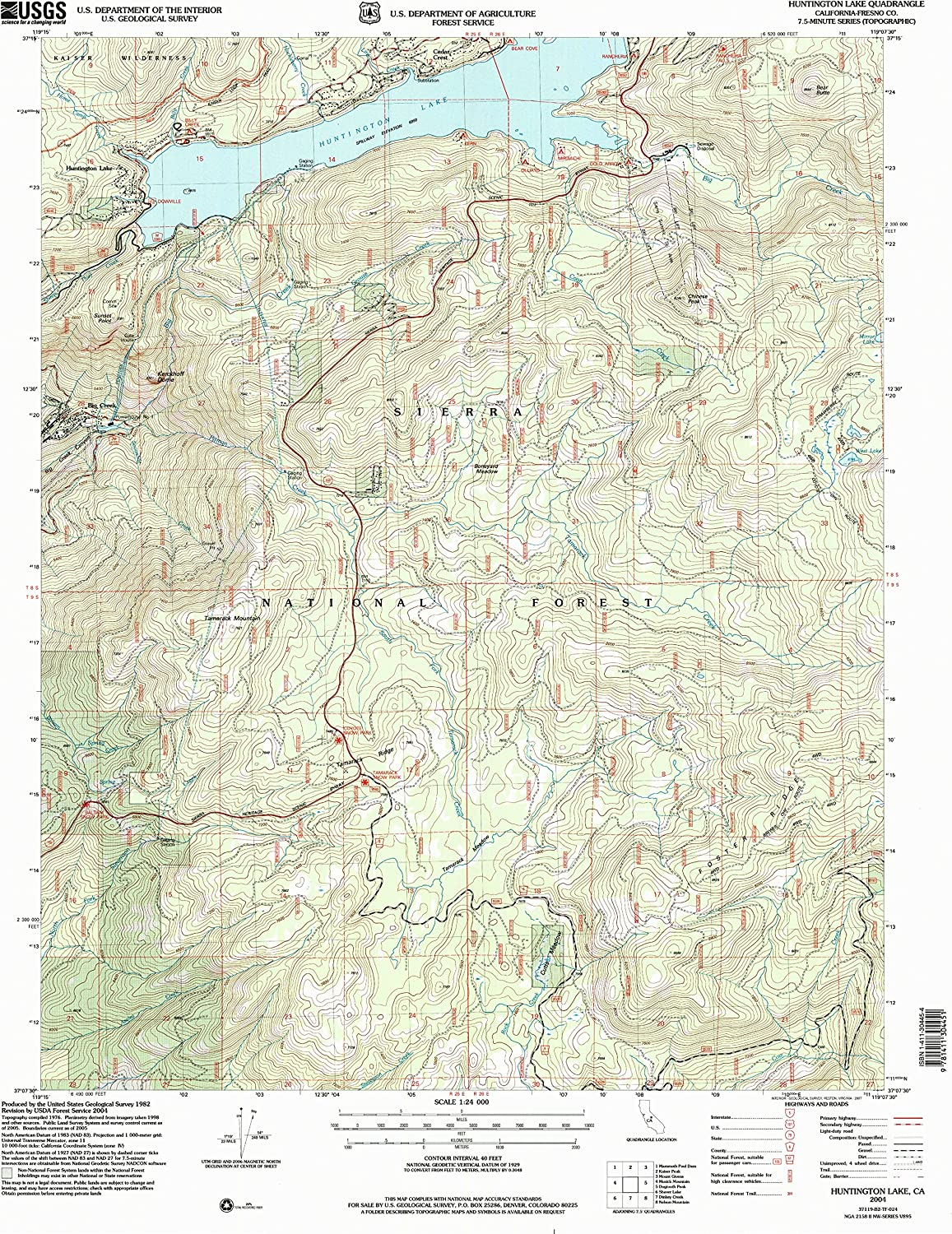 Huntington Lake CA topo map, 1 24000 Scale, 7.5 X 7.5 Minute, Historical, 2004, Updated 2007, 26.7 x 21.5 in