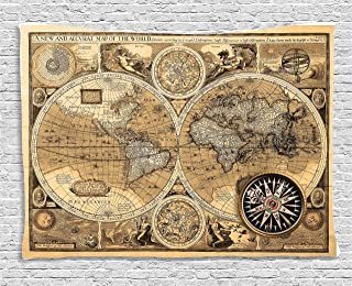 Ambesonne Wanderlust Tapestry, Old Map 1626 a New and Accvrat Map of World Historical Manuscript, Wide Wall Hanging for Bedroom Living Room Dorm, 60