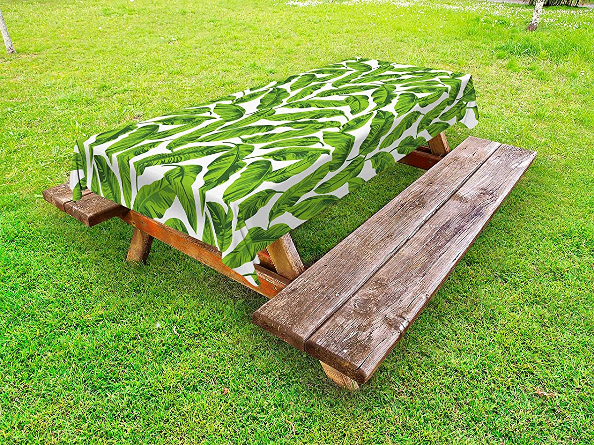 Lunarable Leaf Outdoor Tablecloth, Exotic Hawaiian Summer Foliage Island Holiday Summer Greenery Leaves Print, Decorative Washable Picnic Table Cloth, 58 X 120 inches, Fern Green and Yellow