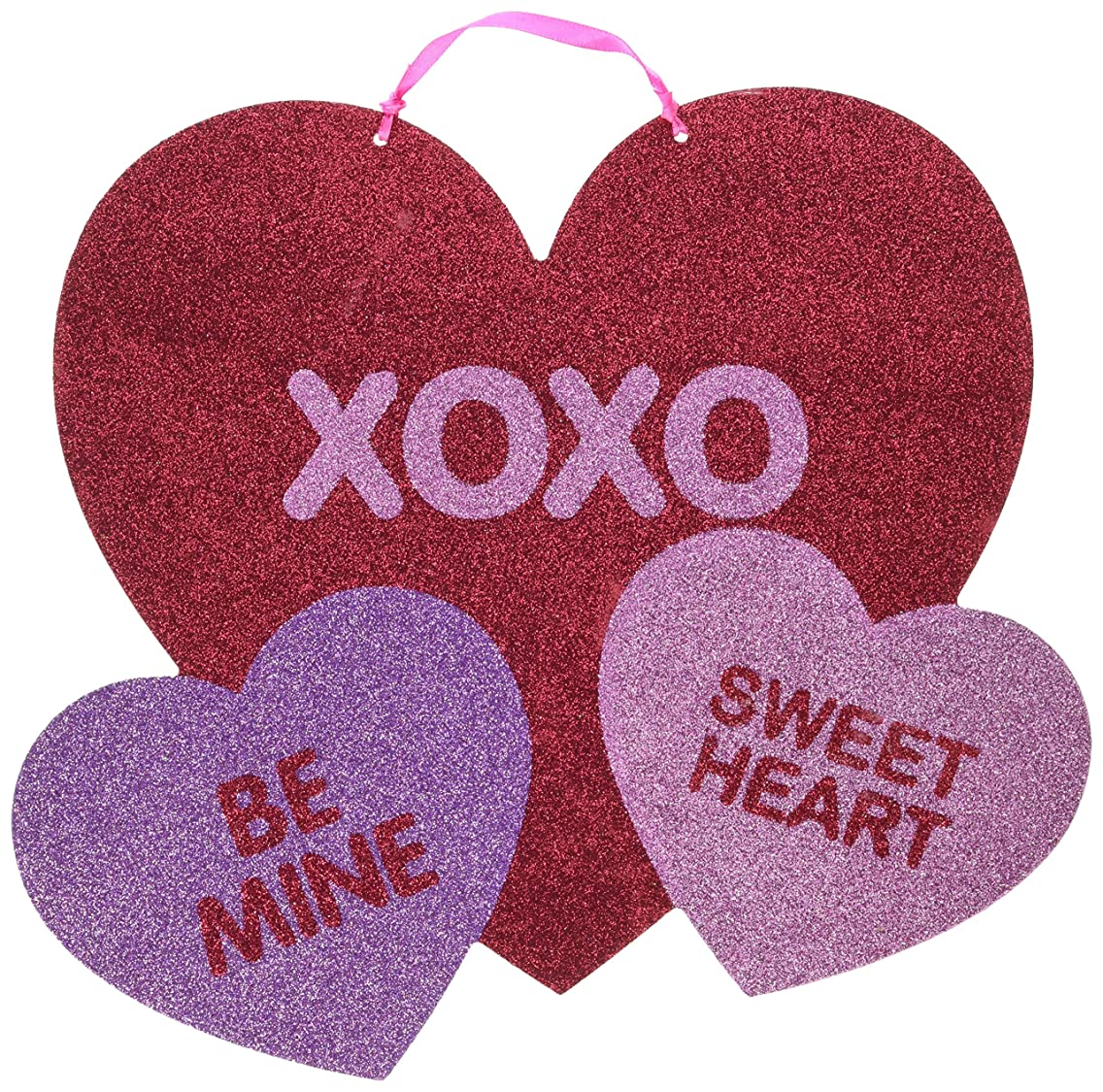amscan Blushing Valentine's Day Multicolored Heart Sign with Ribbon Party Decoration, Board, 10