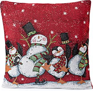 Zilo Novelties Christmas Throw Pillow Covers Snowman(Set of 2)- Red Christmas Pillow Cases, Throw Pillow Decor, Holiday Season Decorations for Couch, Chair, Sofa - 18 x 18 Inches