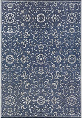 Amazon Com Couristan Monte Carlo Summer Vines Area Rug 2 X 3 7 Navy Ivory Home Kitchen