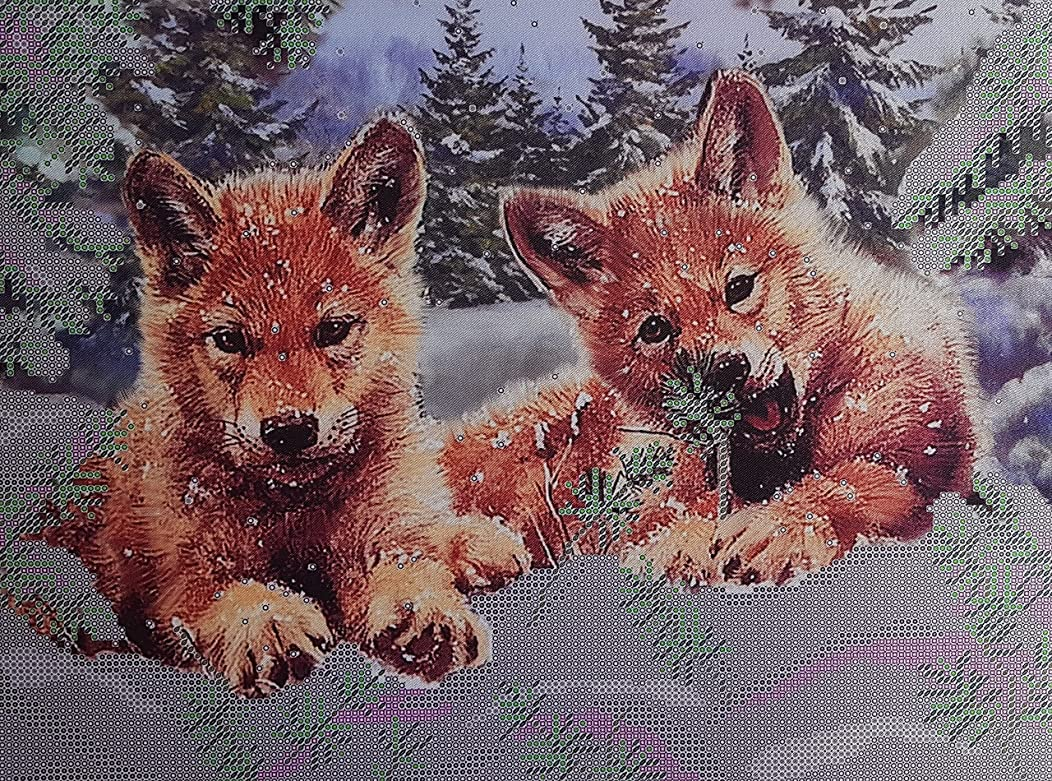 Bead Embroidery kit Wolf Cubs Beaded Cross Stitch Woodlands Animals Needlepoint Handcraft Tapestry kit