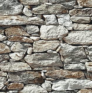 NextWall Stone Wall Peel and Stick Wallpaper (Gray)