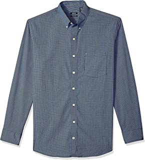 IZOD Men's Big and Tall Button Down Long Sleeve Stretch Performance Check Shirt
