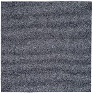 Peel and Stick 12-in x12-in Self Adhesive Carpet Tiles Do It Yourself (DIY) Ribbed Carpet Floor Tiles for Residential & Commercial Carpet Squares for Flooring Use 12 Tiles - Covers 12 Sq Ft (Smoke)