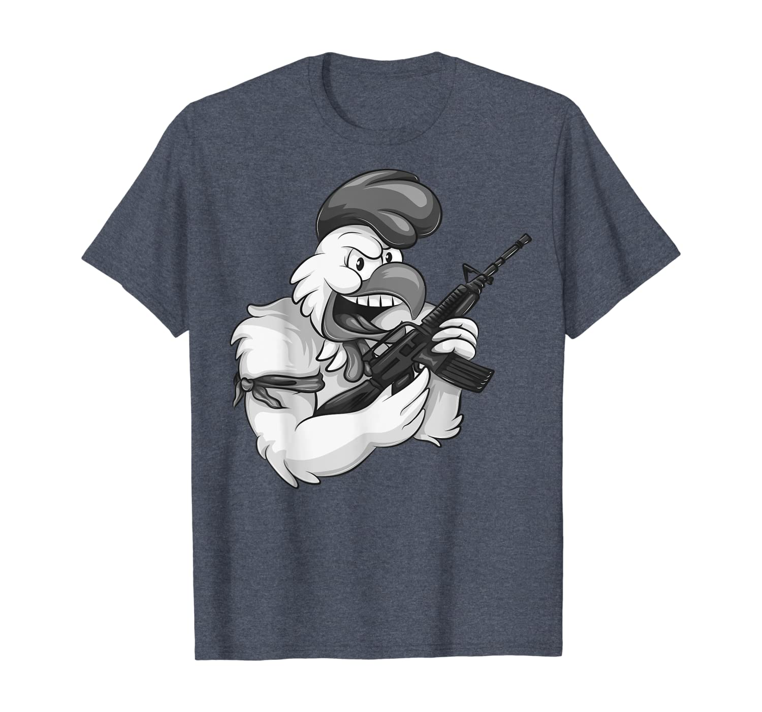 Angry Chicken Cartoon Weaponrooster Funny Gun Farmer Gift T-shirt Unisex Tshirt