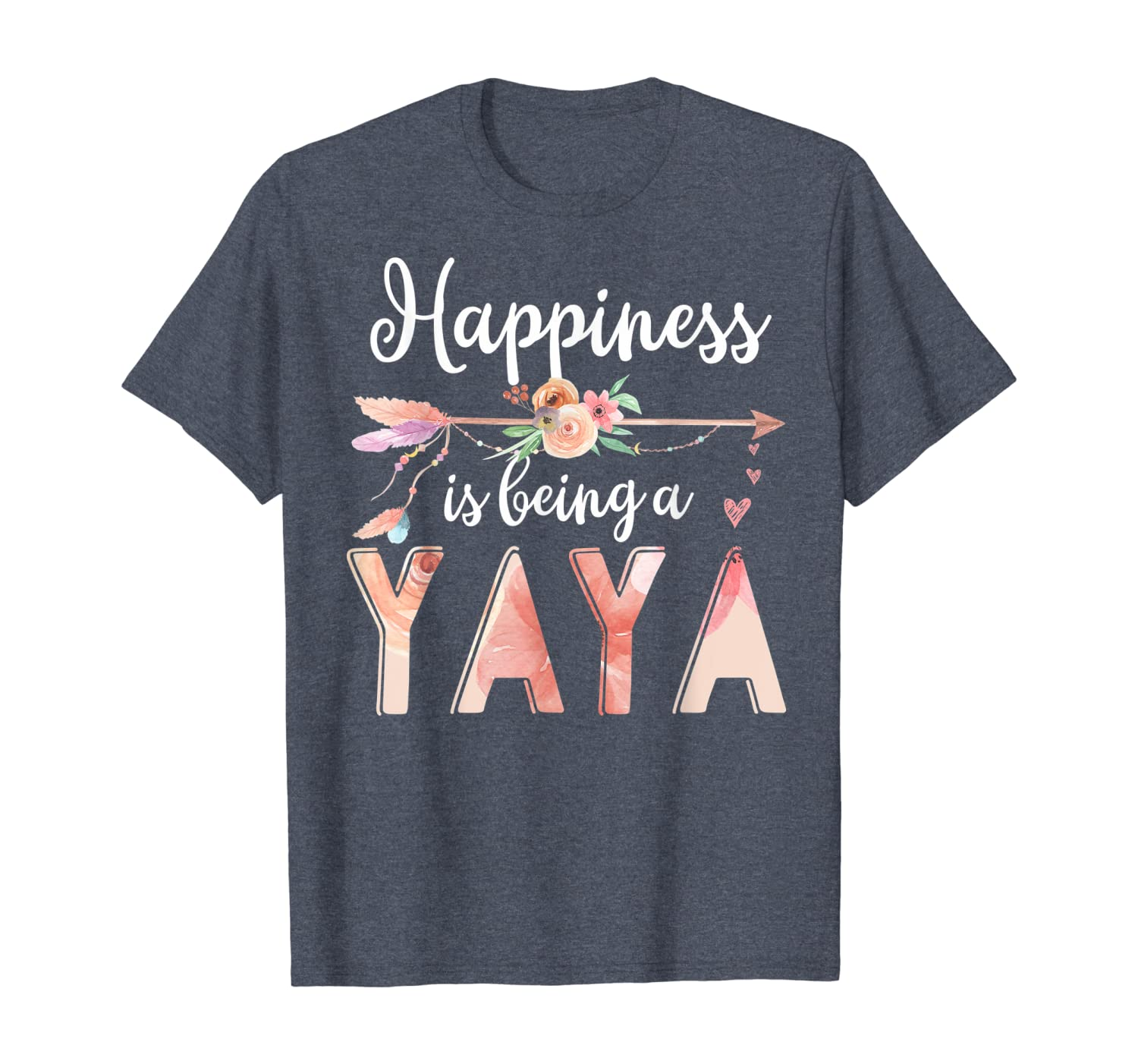Happiness is Being a Yaya Floral Mother's Day Grandma Gift T-Shirt