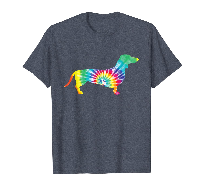 Tie Dye Dog Shirt Hippie Dachshund Retro T-shirt Puppy Gift T-Shirt-ANZ
