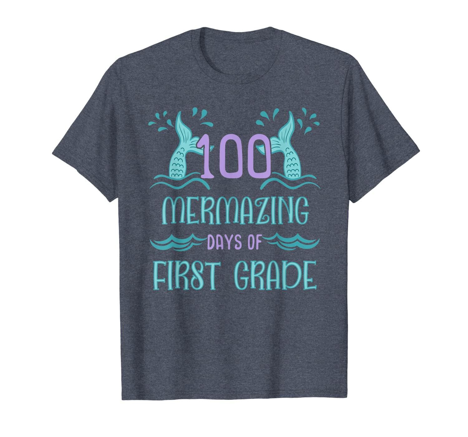 100 Days of School Shirt for Girls Mermaid First Grade Gift T-Shirt Unisex Tshirt