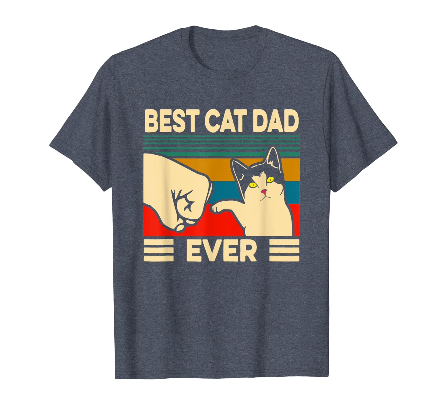 Best Cat Dad Ever Vintage Men Bump Fit Fathers Day Gift T-Shirt Unisex Tshirt