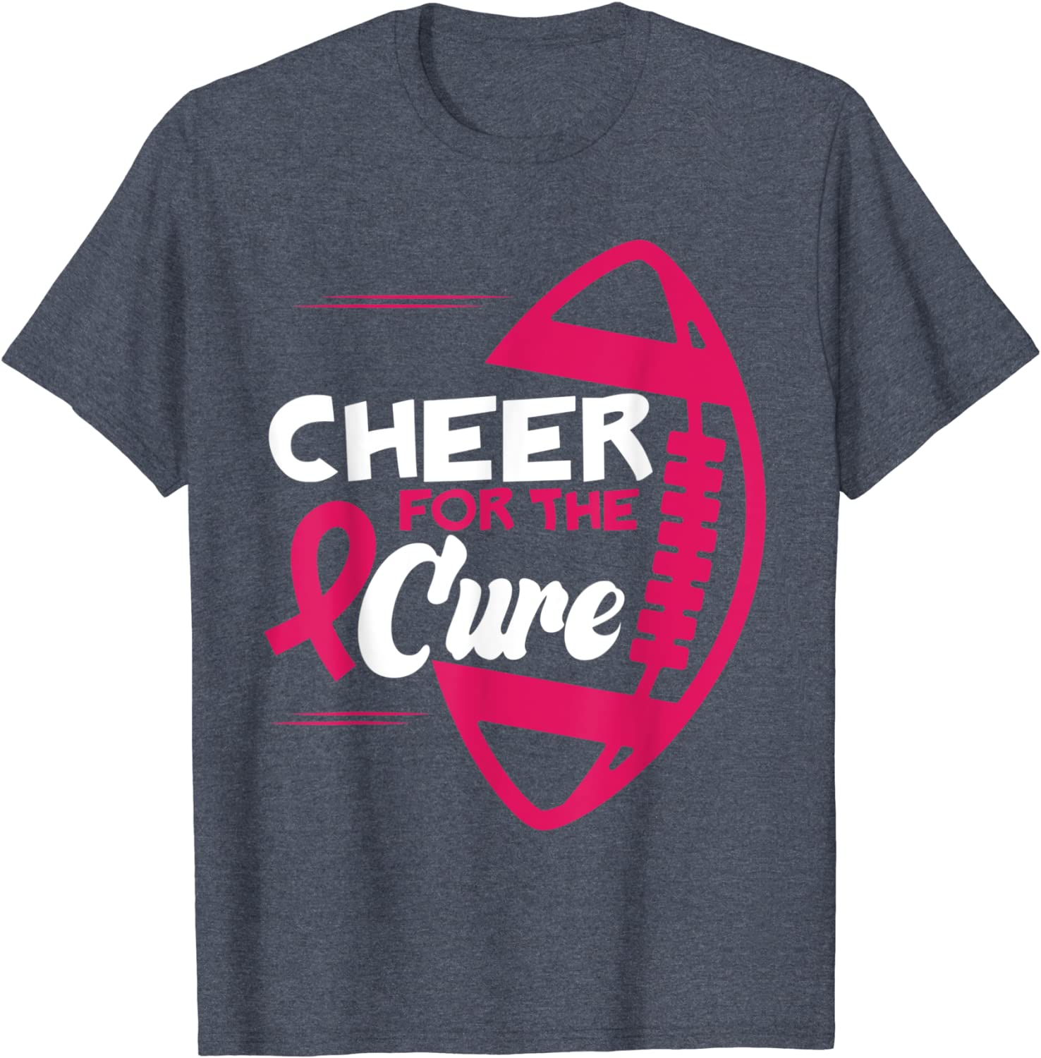 Cheer For The Cure Pink Football Game Day Breast Cancer Gift T-Shirt-TH