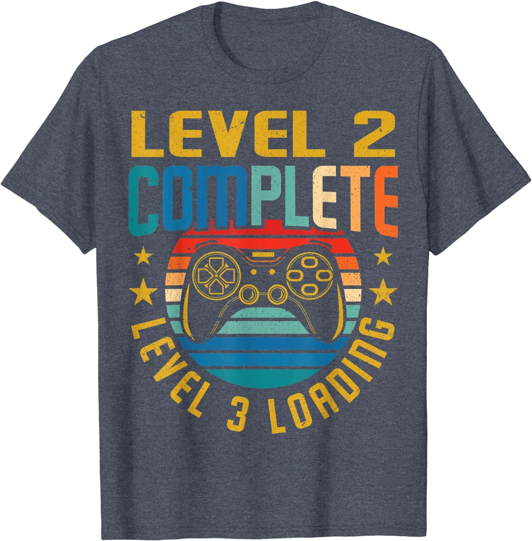Gamer Birthday Shirt Video Game Birthday Shirt Level 2 Unlocked 2nd Birthday T-Shirt Boys Birthday Shirt 2nd Birthday T-Shirt