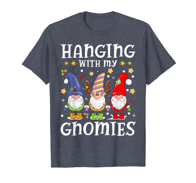 Santa Gardening Gnome Christmas Hanging With My Gnomies Gift T-Shirt-TH