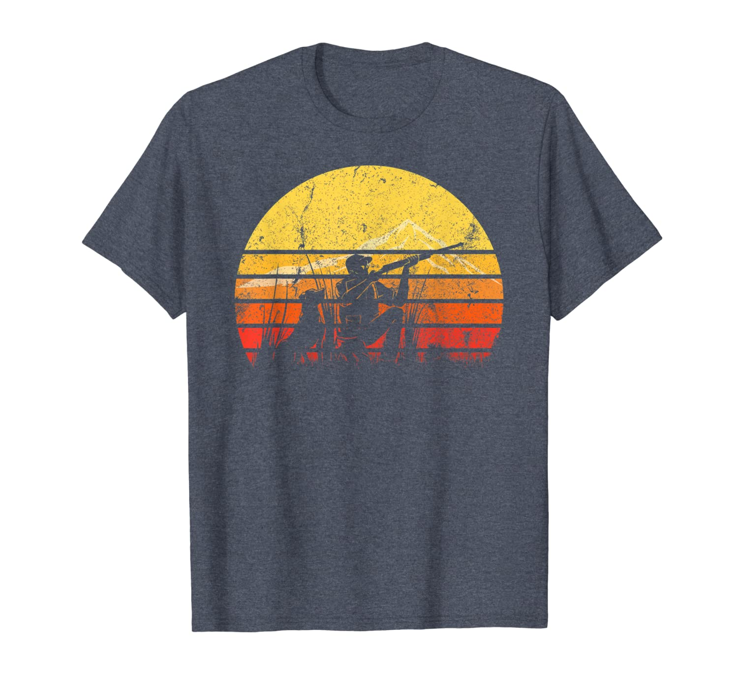 Vintage Retro Duck Hunting Hunter Silhouette Sun Distressed T-Shirt Unisex Tshirt