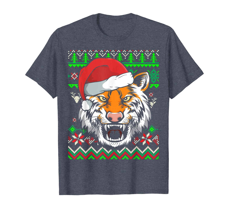Zoo Animal Ugly Christmas Tiger T-Shirt-TH
