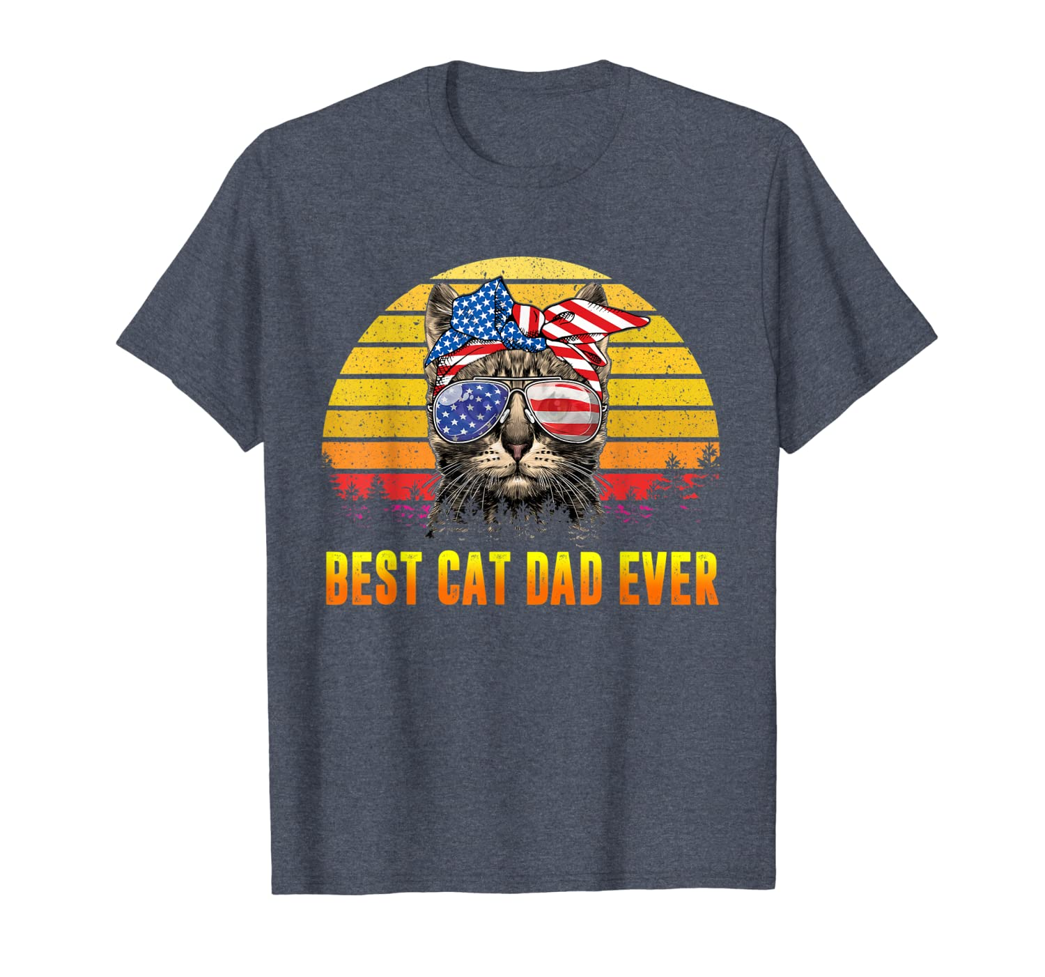 Vintage Best Cat Dad Ever Fathers Day Gifts 4th of July Men T-Shirt Unisex Tshirt