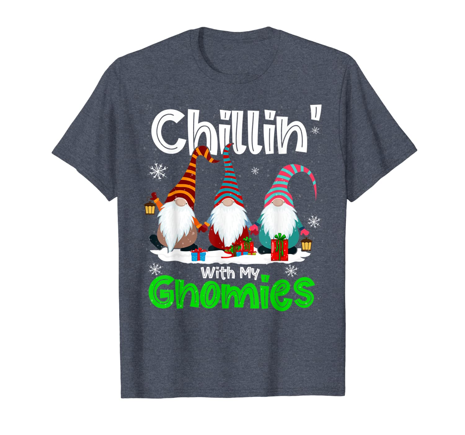 Chillin' With My Gnomies Funny Gnomes Tomte Elves Christmas T-Shirt-TH
