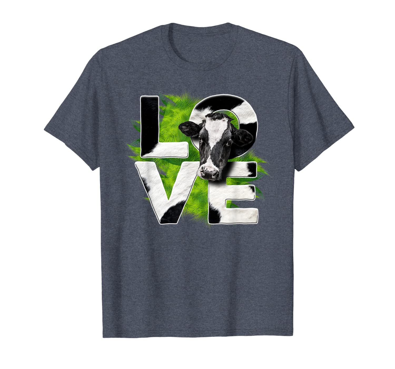 Cute Love Cow Green Grass For Cow Lovers Funny Gift T-Shirt-TH