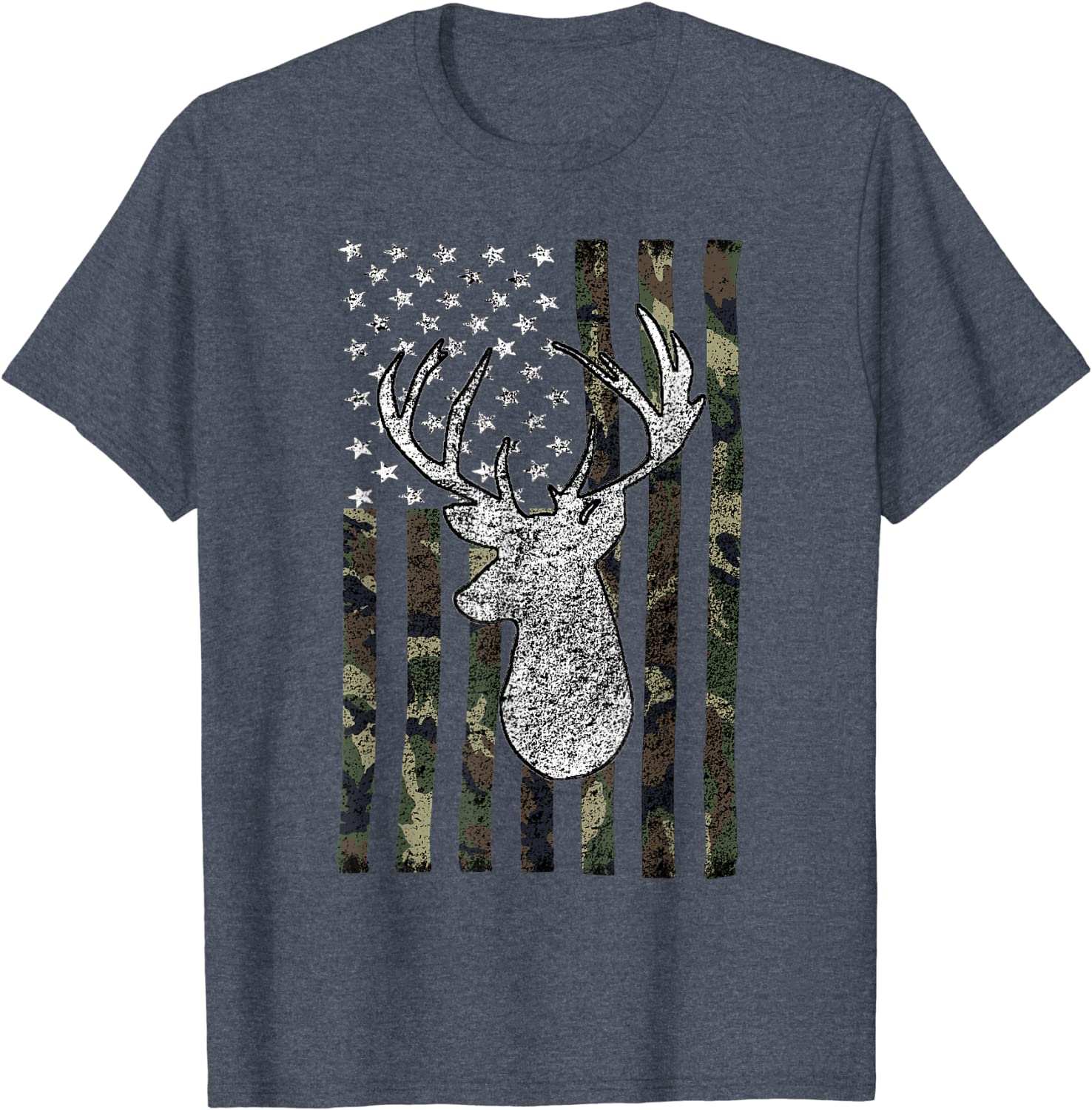 ALL AMERICAN OUTFITTERS DEER WITH AMERICA FLAG BUCK HUNTER LONG SLEEVES SHIRT