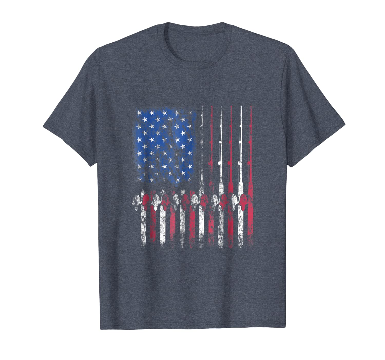 Fishing America T-Shirt American Flag Fisherman Fish Gift LongSleeve Tee