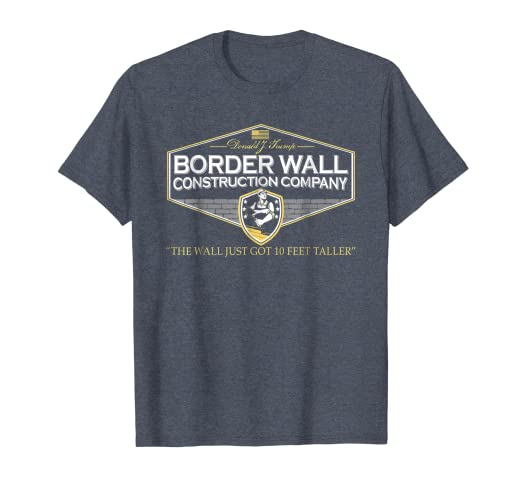 bd73050c Image Unavailable. Image not available for. Color: Mens USA Donald Trump  Border Wall Construction Co T-Shirt