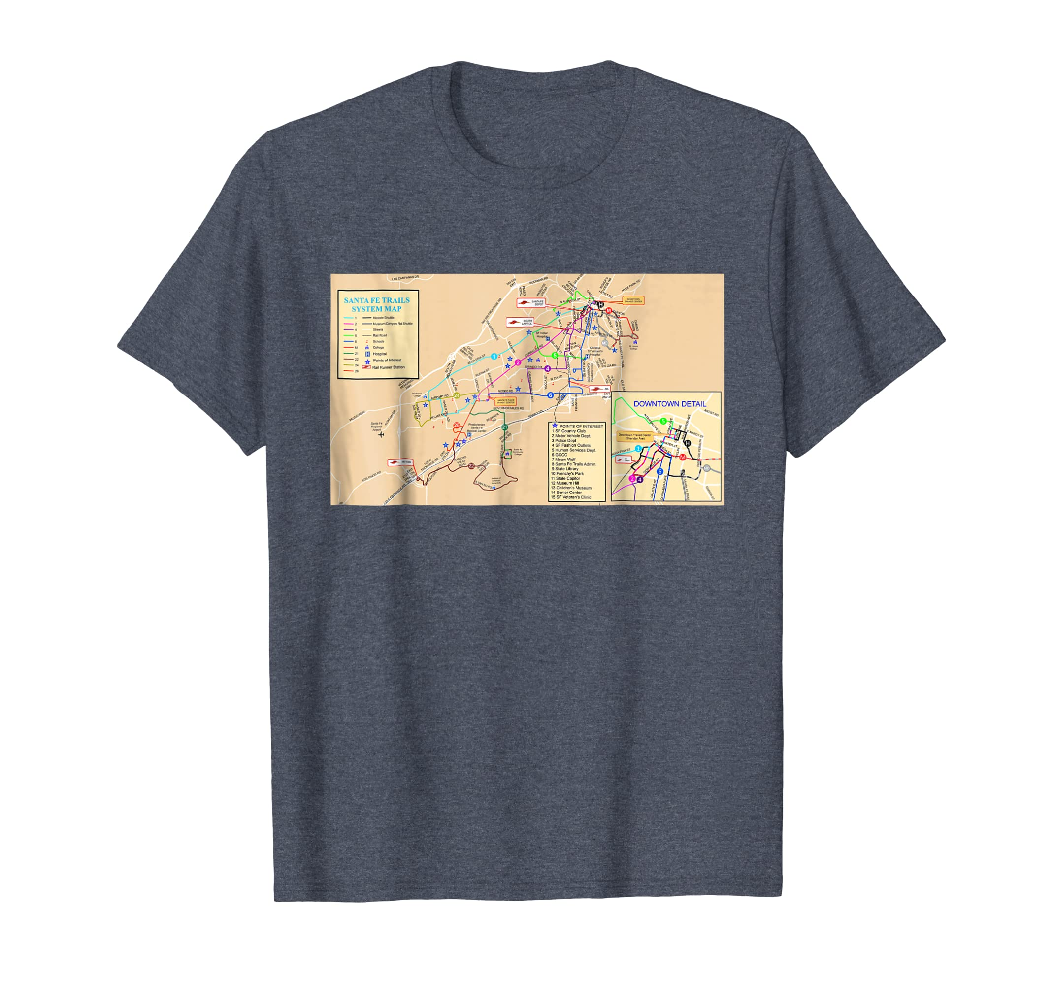 Amazon.com: Santa Fe System Map - New Mexico - USA - T-shirt ... on paris museums map, contact us map, espanola map, clayton ok map, shopping map, philadelphia museums map, boston museums map, chicago museums map,