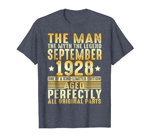 September 1928 The Man Myth Legend Shirt 90th Birthday Gold
