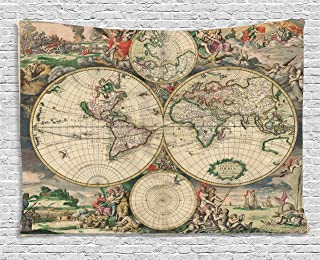 Ambesonne Vintage Tapestry by, Ancient Antique Old Aged Map of the World Historical Geography Theme Retro Design, Wall Hanging for Bedroom Living Room Dorm, 80WX60L Inches, Multicolor
