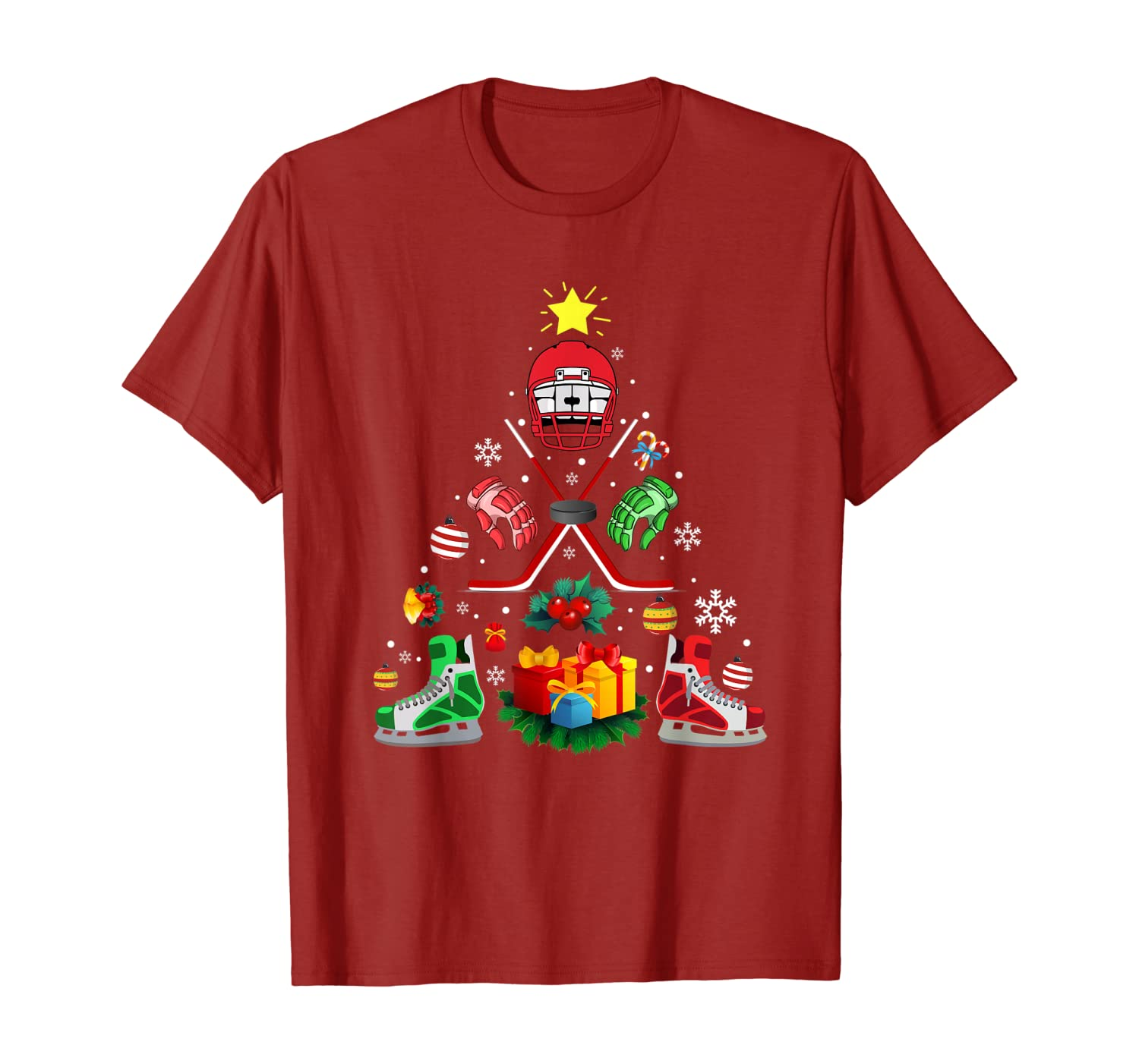 Ice Hockey Christmas Ornament Tree Funny Xmas Gift Boys T-Shirt