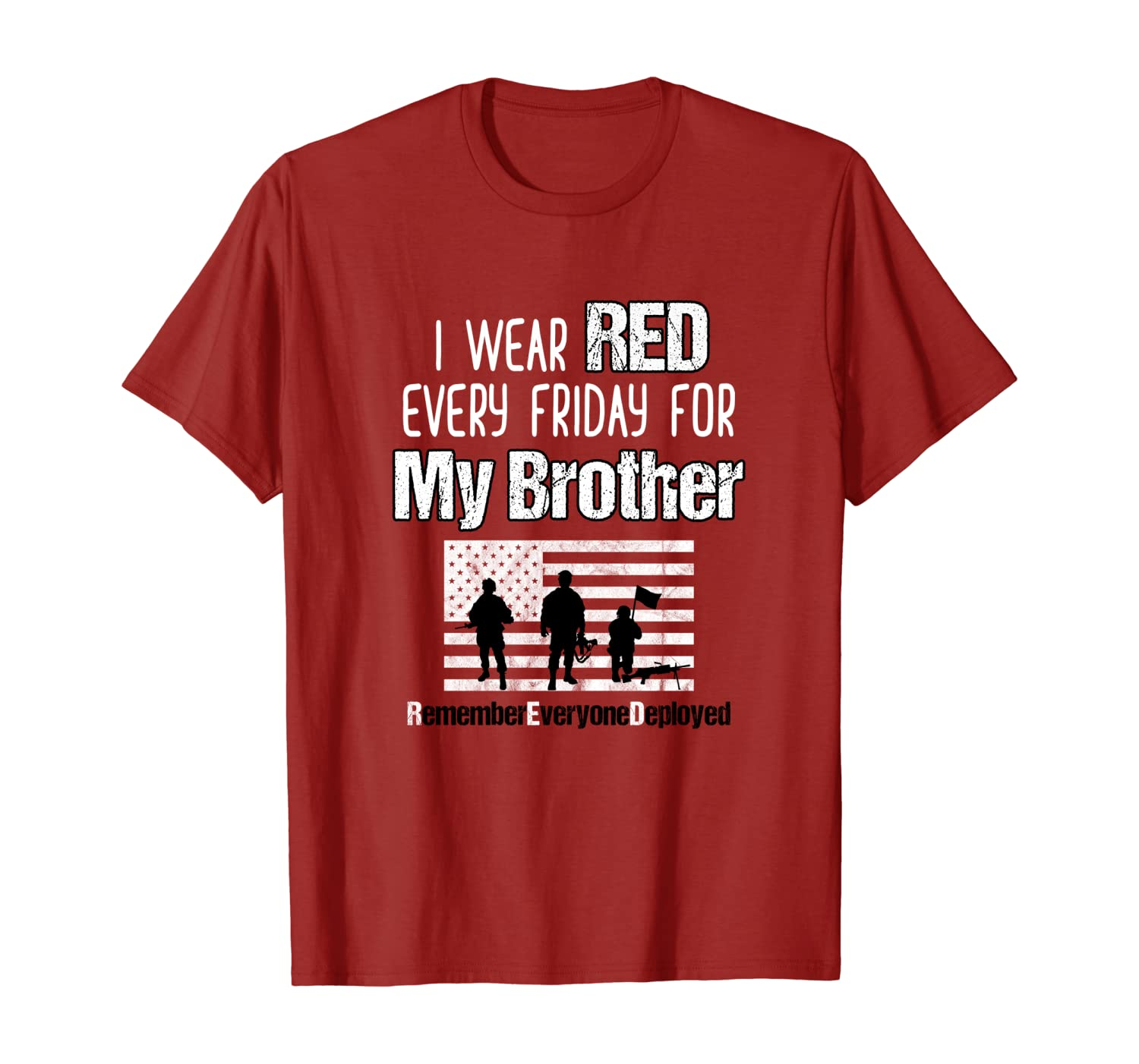 Red Friday Military Shirt Brother Family Member Deployed T